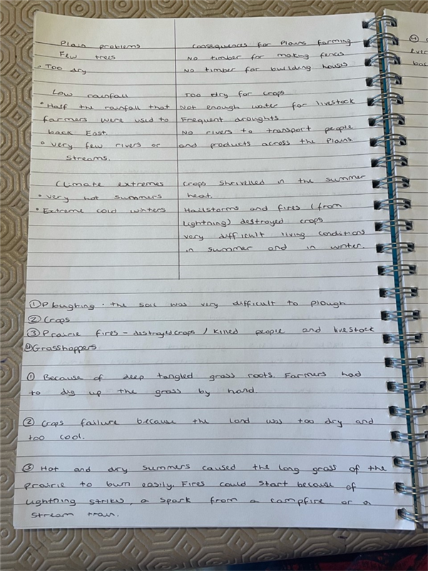 Congratulations to Year 11s who are continuing to produce excellent History work during lockdown.