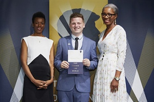Keiran O'Toole receives a Diana Award for his ongoing work in anti-bullying.